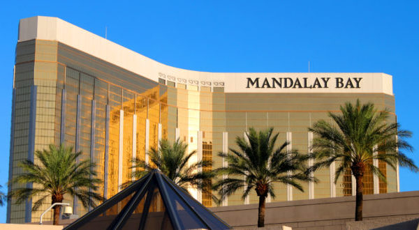 Las Vegas, USA - August 19, 2009: The Mandalay Bay Resort and Casino opened in 1999 in Las Vegas, Nevada.  Seen here is the reflective gold colored exterior of the 44-story tall main building.